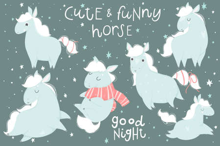 Cute hand drawn illustrations collection with cute horses. Cards, tags, posters, labels templates design set. Perfect for cute baby shower room decor element.