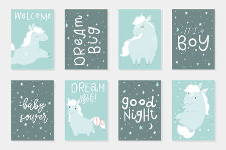 Cute Little horses hand drawn illustrations, could use as card, tag, poster, label template design. Valentines day, cute baby shower room decor element or invitation Stock Illustratie
