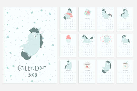 Calendar 2019. Fun and cute calendar with hand drawn cute blue horses, cakes and other cute stuff. Stock Vector - 97277211