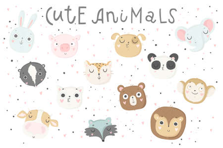 Cute animals isolated illustration for children. Vector image. Perfect for nursery posters, patterns, party invitation, cards, tags etc Illustration