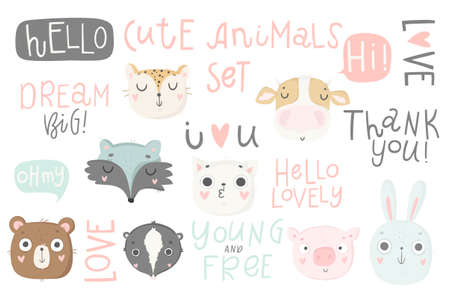 Cute animals isolated illustration and lettering for children. Vector image. Perfect for nursery posters, patterns, party invitation, cards, tags etc Illustration
