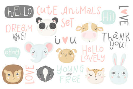 Cute animals isolated illustration and lettering for children. Vector image. Perfect for nursery posters, patterns, party invitation, cards, tags etc  イラスト・ベクター素材