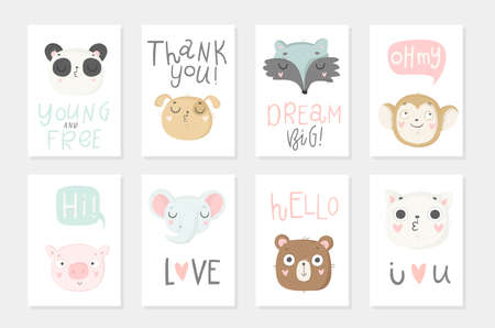 Collection of 8 baby shower posters. Cards with cute animals and hand drawn lettering on white background, pastel colors. Wedding, save the date, baby shower, bridal, birthday. Vector