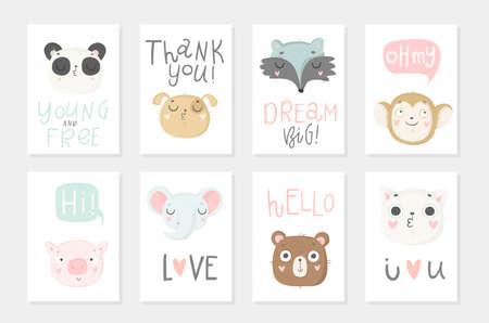 Collezione di 8 poster per baby shower. Carte con simpatici animali e scritte disegnate a mano su sfondo bianco, colori pastello. Matrimonio, salva la data, baby shower, sposa, compleanno. Vettore