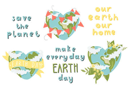 Cute set with illustrations of earth and earth day lettering on white background. Perfect for greeting cards, party invitations, posters, stickers, pin, scrapbooking, icons
