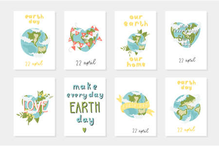 Set of 8 cute ready-to-use gift romantic postcards with the earth, ribons, lettering, flowers. Happy Earth day poster. Vector illustration.