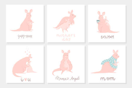 Set of 6 cute ready-to-use gift postcard with adorable mother kangaroo and her child. Happy Mothers Day greeting cards lettering collection.