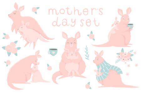 Lindo conjunto con ilustraciones de adorable canguro madre y su bebé, letras sobre fondo blanco. Ilustración de vector