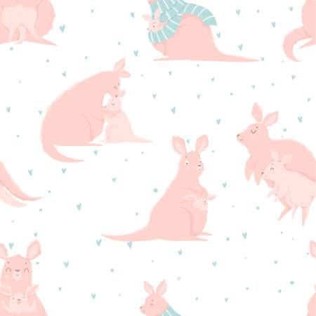 Seamless pattern with cute mother kangaroo and her child. Animal character, hand drawn.