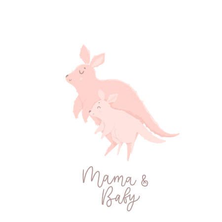 Cute mother kangaroo with her child. Vector illustration with cute animals and lettering. Illustration