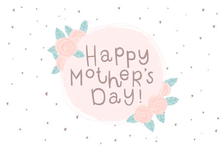 Happy Mothers day greeting card. Cyrillic lettering for mom. Spring simple concept illustration with flowers in pink colors. Vector illustration