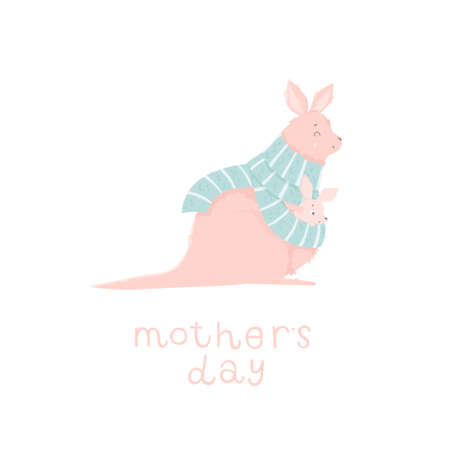 Cute mother kangaroo with her child. Vector illustration with cute animals and lettering. Happy Mothers Day greeting card. Ilustração