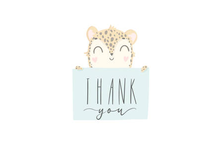 Thank you greeting card. Cute hand drawn leopard with gift box. Present with bow and ribbon. Vector illustration.