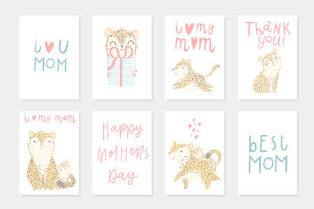 Set with 8 ready to use poster for mothers day. Cute mother leopard with her child. Vector illustration with cute animals and lettering. Postcard, poster, invitation design. Love. Happy Mothers Day! Illustration