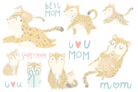 Cute set of illustrations with adorable leopard mother and her baby, lettering on white background. Perfect for Mothers day greeting cards, baby shower invitations, nursery decoration collections