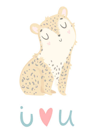 Thank you greeting card. Cute hand drawn leopard with gift box. Present with bow and ribbon. Vector illustration