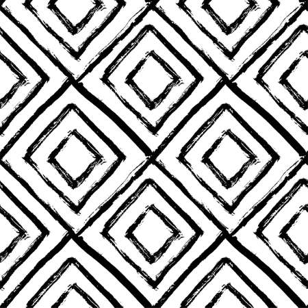 Hand drawn seamless pattern. Black and white, grunge textured monochrome vector illustration. Brush made abstract background. Hipster monochrome texture with triangles. Trendy graphic design.