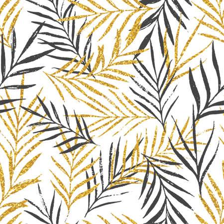 Abstrait motif floral sans couture avec des feuilles de palmier, texture de paillettes d'or à la mode. Fond élégant, design textile ou papier d'emballage. Illustration vectorielle