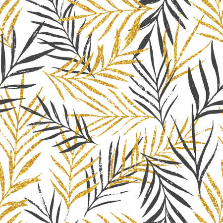 Abstract floral seamless pattern with palm leaves, trendy gold glitter texture. Stylish background, textile or wrapping paper design. Vector illustration