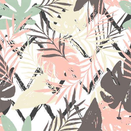 Abstract floral seamless pattern with tropical leaves, trendy hand drawn textures on the black white zig zag background. Modern abstract design for paper, cover, fabric, interior decor