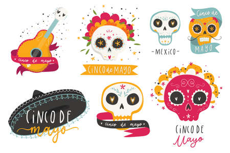 Beautiful vector illustrations with design for Mexican holiday 5 may Cinco De Mayo. The collection traditional Mexican symbols - sugar skulls, marigold flowers, guitar.
