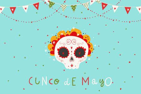 与设计的美丽的明亮的传染媒介例证为墨西哥假日5月5日Cinco de Mayo。明信片与传统墨西哥糖头骨和刻字。