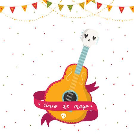 与设计的美丽的明亮的传染媒介例证为墨西哥假日5月5日Cinco de Mayo。明信片用吉他,丝带和刻字。