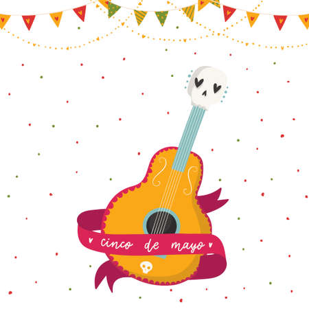 Beautiful bright vector illustrations with design for Mexican holiday 5 may Cinco De Mayo. The postcard with guitar, ribbon and lettering.