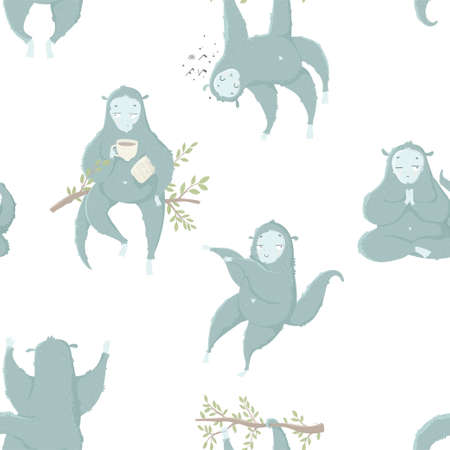 Funny blue monkey, hand drawn illustrations. Seamless pattern perfect for  wrapping paper, fabric, wallpaper background  design. Cute monkey design for baby clothes, textile, kid room decor, print Ilustração