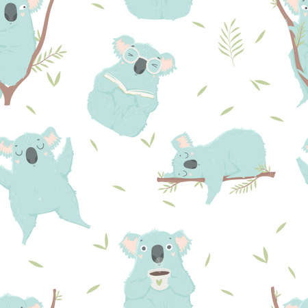 Funny blue koala, hand drawn illustrations. Seamless pattern perfect for wrapping paper, fabric, wallpaper background design. Cute koala design for baby clothes, textile, kid room decor, print. Illustration