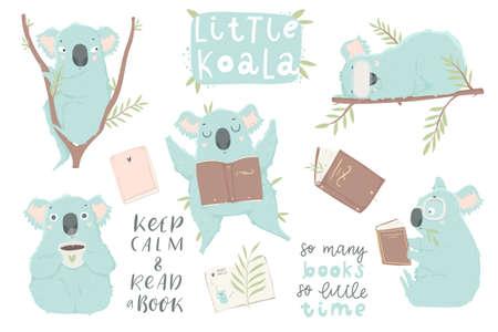 Cute hand drawn blue koala illustration set. Books, coffee, lettering, koala bear art collection. Cute design for baby clothes, textile, kid room decor, prints