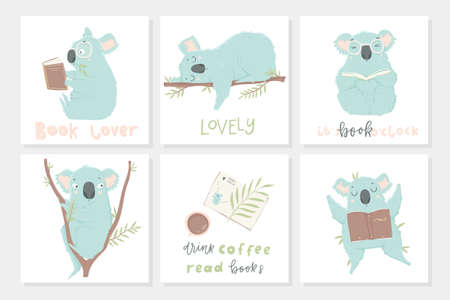 Postcard template with illustrations and lettering. Cute blue koala hand drawn illustration could use as card, tag, poster, label template design. Baby shower room decor element or invitation