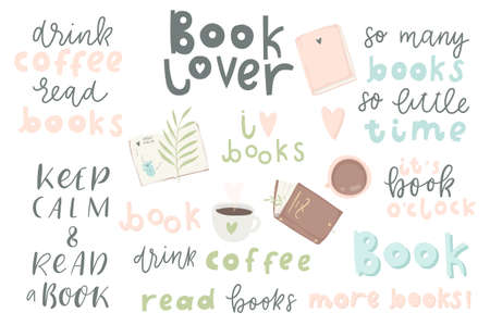 Book lover. Hand drawn quotes and words about books for design invitations, posters and cards.