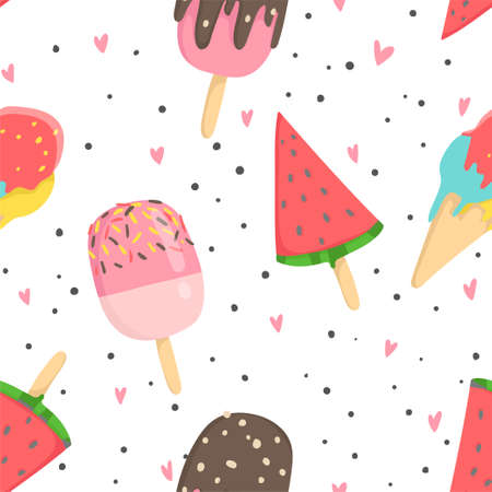 Summer seamless pattern with ice cream, dots, strawberries, hearts. Wrapping paper, fabric, wallpaper, background design.