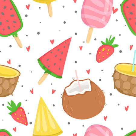 Summer seamless pattern with ice cream, dots, strawberries, hearts. Wrapping paper,