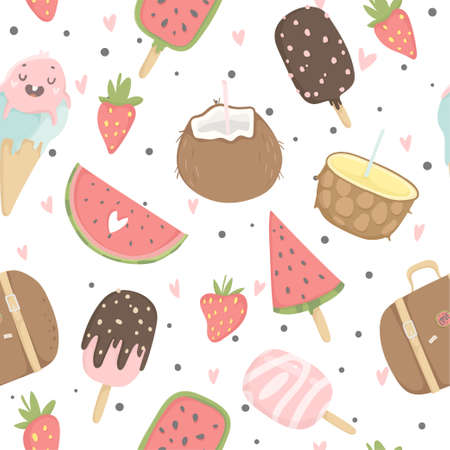 Summer seamless pattern with ice cream, fruits, dots, strawberries, hearts. Wrapping paper, fabric, wallpaper, background design.