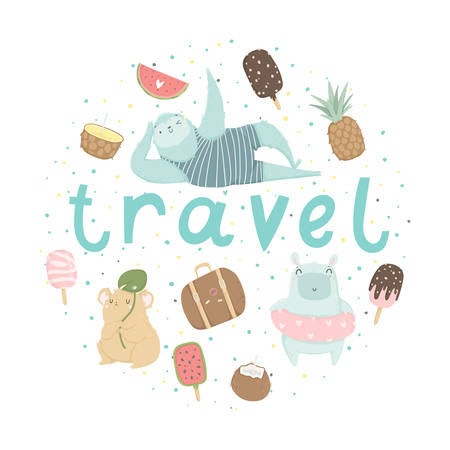 Fun summer poster. Cards with cute animals, fruits, icecream, lemon, pineapple and much more. Vector collaction
