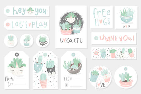 Collection of redy to use gift summer tags, cards and stickers with succulents. Vector printable branding collection for flower shop, gift store or house planting in pastel colors