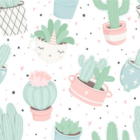 선인장과 귀여운 여름 테마 완벽 한 패턴입니다. 예쁘고 부드러운 파스텔 색상. 예쁜 냄비에 다른 선인장과 succulents와 패턴. 트렌디 한 파스텔 색상. 집 식물을 가진 벡터 일러스트 레이 션 벡터 (일러스트)