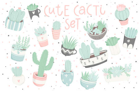 Cute summer sticker set with cacti. Pretty and soft pastel colors. Hand drawn collection of different cactuses, succulents and lettering. Vector illustration