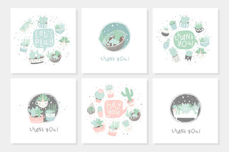 Set of 6 cute ready-to-use gift romantic postcards with succulents. Vector printable template design collection of  cards, invitations, posters in pastel colors with pretty trendy cacti houseplants Illustration