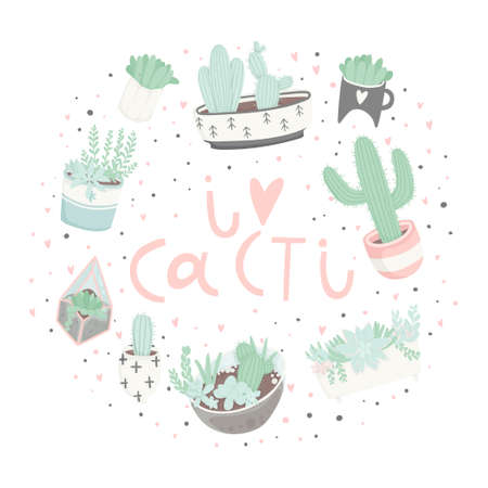Cute cartoon ready-to-use gift postcards with succulents and cactuses. Vector printable template design of Thank you card, invitation, poster in pastel colors with pretty trendy cacti houseplants Illustration