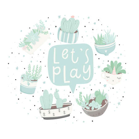 Cute cartoon ready-to-use gift postcards with succulents and cactuses. Vector printable template design of Thank you card, invitation, poster in pastel colors with pretty trendy cacti houseplants Archivio Fotografico - 101977510