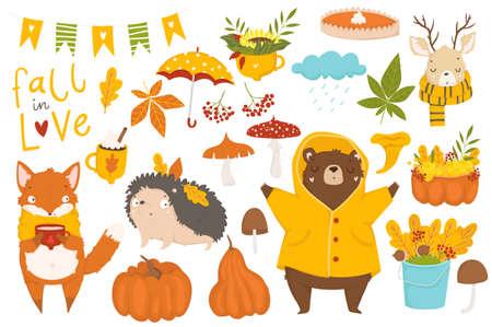 Satz süße Herbstzeichentrickfiguren, Pflanzen und Lebensmittel Herbstsaison. Sammlung von Scrapbook-Elementen für Party, Erntedankfest oder Erntedankfest. Vektorgrafik