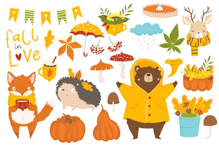 Set of cute autumn cartoon characters, plants and food. Fall season. Collection of scrapbook elements for party, harvest festival or Thanksgiving day. Stock Illustratie