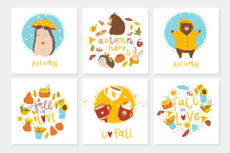 Set of 6 cute ready-to-use gift cute postcards with animals, leaves, hearts, cups and magic. Vector printable collection of Autumn card, invitation, poster in bright colors template design  イラスト・ベクター素材
