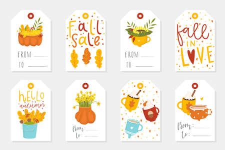 Autumn set of sale and gift tags, labels with cute illustrations, fun elements, hand drawn lettering. Fall collection with cozy elements, cups, pumpkins, leaves, animals and much more.