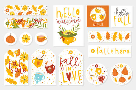 Autumn set of gift tags, cards and stickers with cute illustrations, fun elements, hand drawn lettering. Fall collection with cozy elements, cups, pumpkins, leaves, animals and much more.