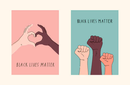 Black lives matter hand drawn poster, card collection. Hashtag blm stylized set. Black and white hands together concept. Campaign against racial discrimination of dark skin color. Vector illustration. Illustration