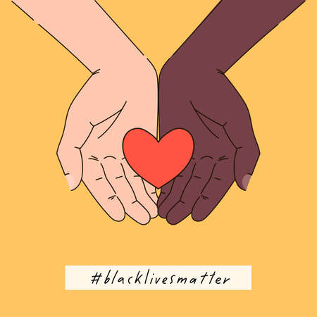 Black lives matter hand drawn poster, card collection. Hashtag blm stylized set. Black and white hands together concept. Campaign against racial discrimination of dark skin color. Vector illustration. 일러스트
